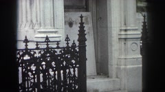 1958: the premises of a church with magnificent buildings painted white  Stock Footage