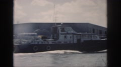 1958: huge ships sailing vast sea arriving to ports beautiful view clouds in sky Stock Footage