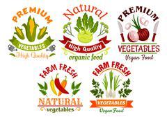 Fresh farm vegetables and herbs cartoon symbols Stock Illustration