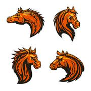 Wild horse and angry mustang stallion mascots Stock Illustration