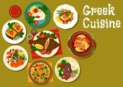 Greek cuisine dishes with fish and lamb icon Stock Illustration
