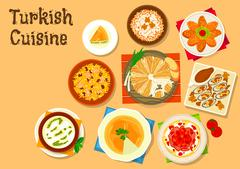Turkish cuisine national dishes for menu design Stock Illustration