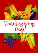 Thanksgiving Day meal abundance greeting banner Stock Illustration