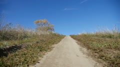 Road trail in the hill lonely tree trip nature Stock Footage