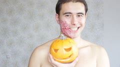 Man with makeup for Helloween Stock Footage