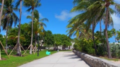 Stock footaege pedestrian path Ocean Drive Miami Beach Stock Footage