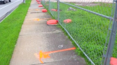 Orange sand bags for storm Stock Footage