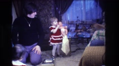1973: children opening presents MEDFORD NEW JERSEY Stock Footage