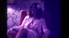 1973: young girl sitting in chair, laughing. MEDFORD NEW JERSEY Stock Footage