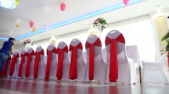 Row of chairs in a restaurant cafe wedding wedding video art Stock Footage