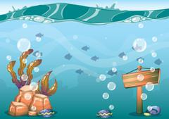 Cartoon vector underwater background with separated layers for game art and a Piirros