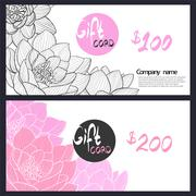 Gift Card with delicate pink lily Stock Illustration