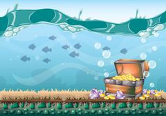 Cartoon vector underwater treasure background with separated layers for game  Piirros