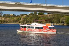 People onboard the free CityHopper ferry in Brisbane Stock Photos