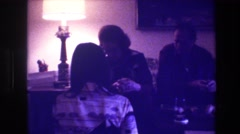 1973: people are having a small party in the evening MEDFORD NEW JERSEY Stock Footage