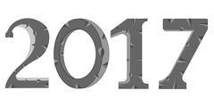 Stone numerals 2017 Stock Illustration