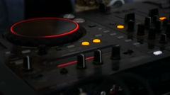 Remote mixer Audio DJ music video glows in the dark Stock Footage