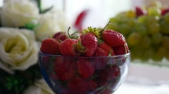 Delicious berry red strawberry in a cup on the table in a restaurant dessert Stock Footage