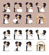 Just married couples in different poses. Vector illustration in flat style. D Stock Illustration