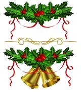 Set of golden Christmas bells with holly Piirros