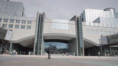 European Parliament building main gate Stock Footage
