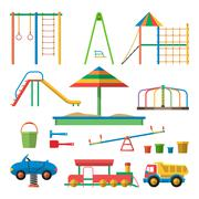 Kids playground vector illustration with isolated objects. Children design el Piirros