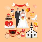 Vector set of wedding ceremony isolated objects. Design elements and icons in Stock Illustration