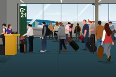 Plane Passengers Boarding the Plane on the Departure Gate Stock Illustration