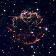 Cassiopeia A - colourful aftermath of a violent stellar death. Stock Photos
