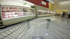 Shopping cart pov supermarket Stock Footage