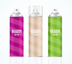 Aluminium Colorful Beauty Spray Can Set. Vector Stock Illustration