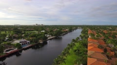 Aerial video luxury homes Hallandale FL Stock Footage