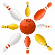 Bowling Ball in Center Pins Set. Vector Stock Illustration