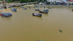Aerial View of a Small Vietnamese House on a River Stock Footage