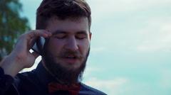 Smartphone man talking on smart phone Stock Footage
