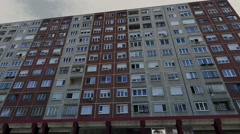 Eastern European Panel Plattenbau Block Building Establishing Shot 3D Animation Stock Footage