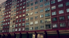 Eastern European Panel Plattenbau Block Building Establishing Shot 3D Animation Stock Footage
