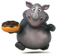 Fun rhinoceros - 3D Illustration Stock Illustration