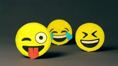 Funny emoji smiles Stock Footage