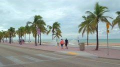 People walking on Fort Lauderdale Beach FL Stock Footage