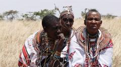 Close up of three maasai women at koiyaki guiding school in kenya Stock Footage