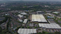 Aerial view of an industrial area in the West Midlands. Stock Footage