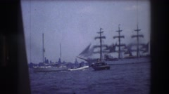 1976: boats in the harbor steering around the boats nearby to avoid crashing. Stock Footage