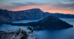 Sun Rising time lapse at Crater Lake National Park Stock Footage