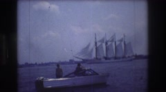 1976: old ship enters a harbour NEW YORK CITY Stock Footage