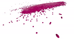 Purple fluid flow hits the surface in slow motion. Colored liquid Stock Footage
