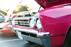 Classic retro  vintage pink car Stock Photos
