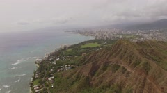 Aerial Deamond Head State Monument Honolulu Stock Footage