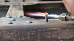 Worker cutting steel with fire gas Stock Footage