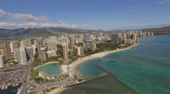 Aerial Waikiki Bay Hawaii Kahanamoku Beach Stock Footage